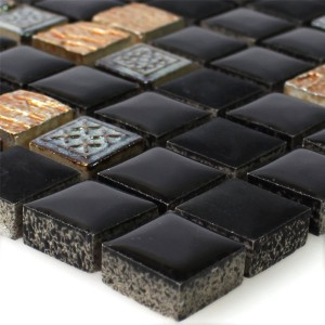 Natural Stone Resin Ornament Mosaic Black Copper