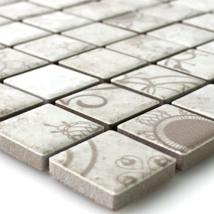 Mosaic Tiles Ceramic Laceo Grey