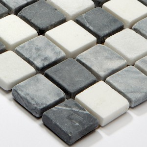 SAMPLE Mosaic Tiles Marble Black Mix 23x23x8mm
