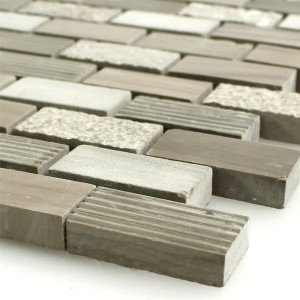 Mosaic Tiles Natural Stone Mocca Brown 15x30x8mm