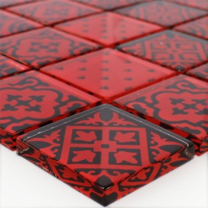 Mosaic Tiles Glass Barock Ornament Red