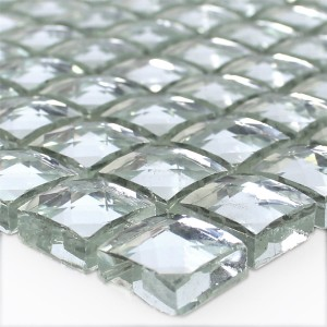 Mosaic Tiles Glass Silver Brilliant White