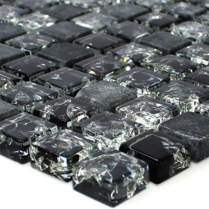 Mosaic Tiles Glass Natural Stone Broken Black
