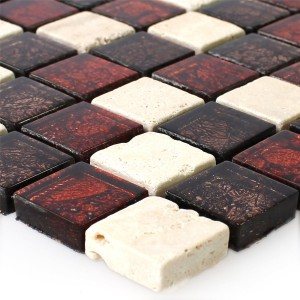 Mosaic Tiles Natural Stone Glass Red Brown Beige