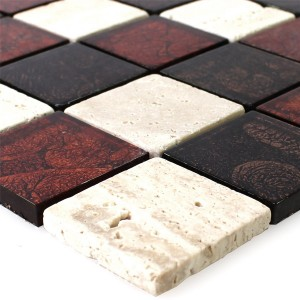 Mosaic Tiles Natural Stone Glass Red Brown Beige 48x48x8mm