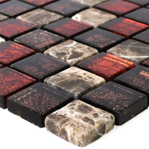 Mosaic Tiles Natural Stone Glass Red Brown 23x23x8mm