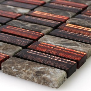 Mosaic Tiles Natural Stone Glass Red Brown Stick