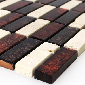 Mosaic Tiles Natural Stone Glass Red Brown Beige Stick