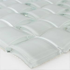 Mosaic Tiles Glass 3D Effect White Uni