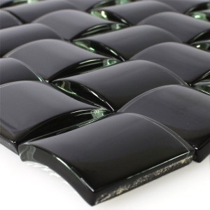 Mosaic Tiles Glass 3D Effect Black Uni