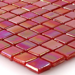 Mosaic Tiles Glass Nacre Effect Red