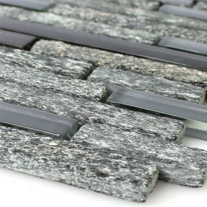 Mosaic Tiles Glass Natural Stone Black Grey