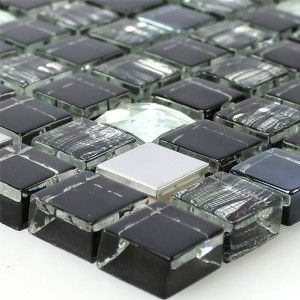Mosaic Tiles Glass Stainless Steel Black Mix 15x15x8mm
