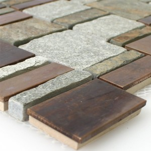 Natural Stone Copper Mosaic Metal Mix