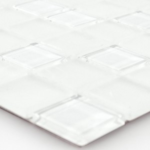 Mosaic Tiles Glass Self Adhesive White