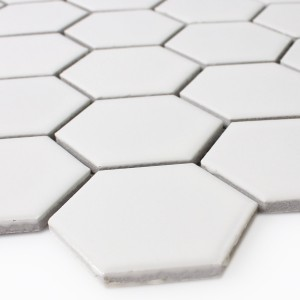 Mosaic Tiles Ceramic Hexagon White Mat