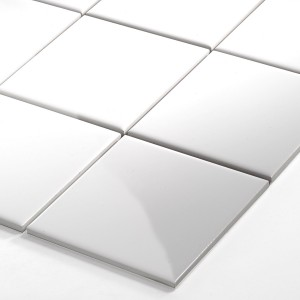 Mosaic Tiles Ceramic White Glossy 100x100x6mm