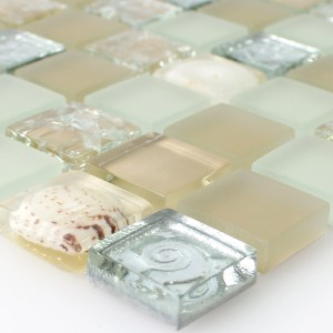 SAMPLE Mosaic Tiles Glass Shell Beige Mix