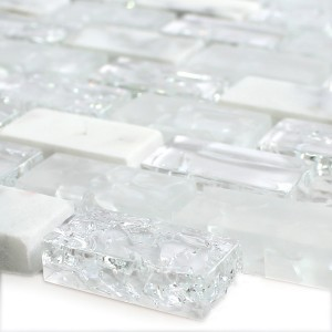 SAMPLE Mosaic Tiles Glass Natural Stone Broken White Effect Brick