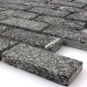 SAMPLE Mosaic Tiles Natural Stone Quartzite Brick Black