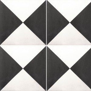 Cement Tiles Wells Diagonal Black White