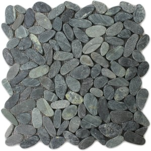 Mosaic Tiles River Pebbles Cut Black
