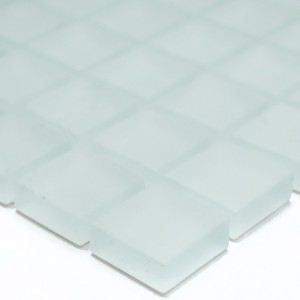 Mosaic Tiles Glass White Mat Frosted