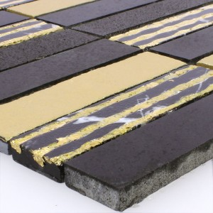 Mosaic Tiles Natural Stone Carving Gold Black