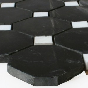 SAMPLE Natural Stone Octagon Mosaic Tiles Black White Polished