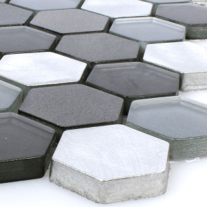 Mosaic Tiles Glass Alu Angela Hexagon Black Silver