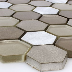 Mosaic Tiles Glass Alu Angela Hexagon Brown Silver
