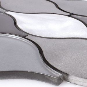 Mosaic Tiles Glass Aluminium Eliza Black Silver