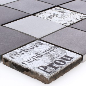 Mosaic Tiles Metal Natural Stone Parole Black Silver