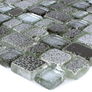 Mosaic Tiles Glass Roxy Black Silver