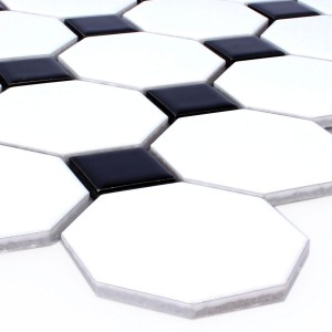 SAMPLE Mosaic Tiles Ceramic Octagon Belami Black White