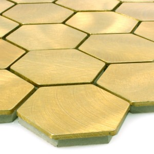 Mosaic Tiles Aluminium Manhatten Hexagon Gold