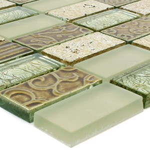 Mosaic Tiles Glass Natural Stone Piroshka Gold