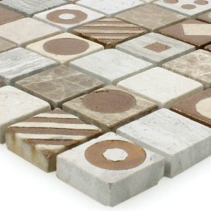 Mosaic Tiles Natural Stone Since Brown Grey Polished