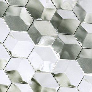 Mosaic Tiles Stainless Steel Contender Hexagon Silver