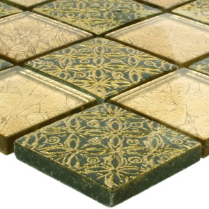 Mosaic Tiles Glass Natural Stone Friesia Gold