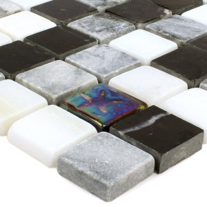 Mosaic Tiles Relief Marble Glass Mix Black Grey White