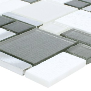 Mosaic Tiles Material Mix Echo White Grey