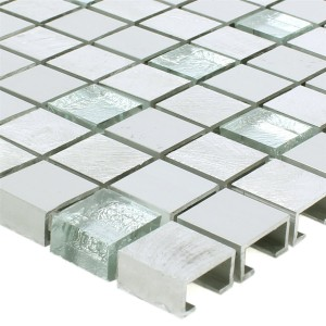 Mosaic Tiles Lissabon Aluminium Glass Mix Silver