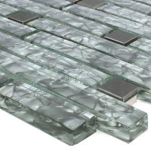 Mosaic Tiles Zaide Stainless Steel Glass Mix Grey