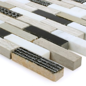 Mosaic Tiles Sicilia Gold Black White Grey Brick