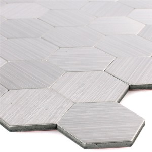 Mosaic Tiles Metal Self Adhesive Mikros Silver Hexagon
