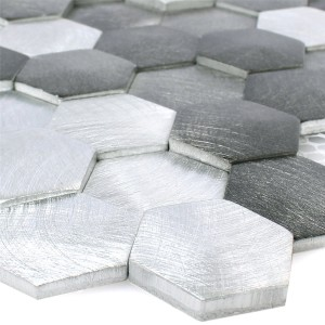 Mosaic Tiles Sindos Hexagon 3D Black Silver