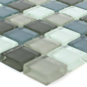 Mosaic Tiles Glass Palmas Grey Blue White