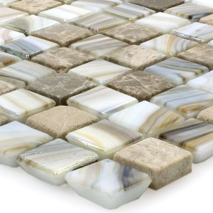 SAMPLE Mosaic Tiles Glass Marble Mix Pipeline Pearl