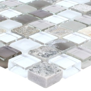 Mosaic Tiles Marble Java Glassmix Apollo Brown White 15